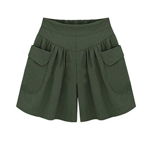 Kurze Hosen Damen Luckycat Shorts Damen Sommer Locker Einfarbige Damen Bügel Shorts Hose Sommerhosen Pants Hosen (Z -004- Grün, X-Large)