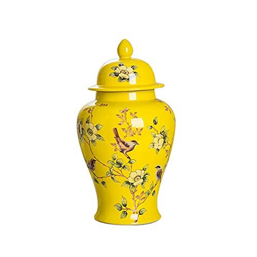QULONG Classic Flower and Orcelana jarrones con Tapa, glaseado Jarra de Porcelana, Sala de Estar con gabinete de Vino Art General Jar Decoración del hogar,Amarillo,S