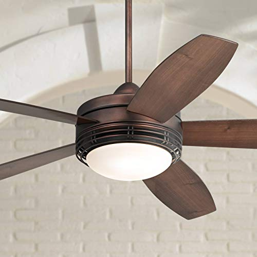 """60"""" Casa Province Modern Rustic Outdoor Ceiling Fan with Light LED Remote Control Oil Brushed Bronze Reversible Dark Walnut Maple Blade Damp Rated for Patio Exterior House Porch - Casa Vieja"""