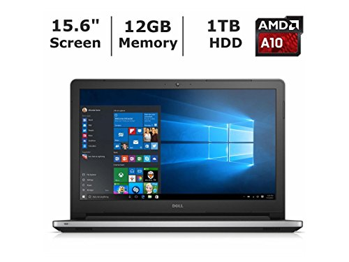 """2016 Dell Inspiron 15.6"""" High Performance Laptop PC, AMD A10-8700P Processor, 12GB RAM, 1TB HDD, DVD+/-RW, Webcam, WIFI, HDMI, Bluetooth, Windows 10, Silver"""