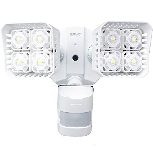 SANSI LED Security Motion Sensor Outdoor Lights, 30W (250W Incandescent Equivalent) 3400lm, 5000K Daylight, Waterproof Flood Light, ETL Listed, White , Square - LED Security Motion Sensor Light