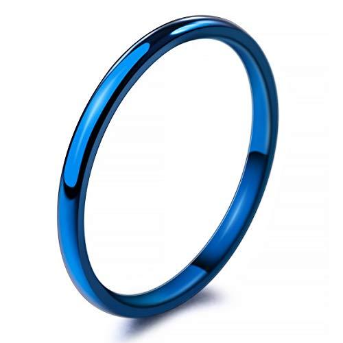 MunkiMix Larghezza 2mm Acciaio Inossidabile Anello Anelli Banda Blu Matrimonio Dimensioni 14 Uomo,Donna