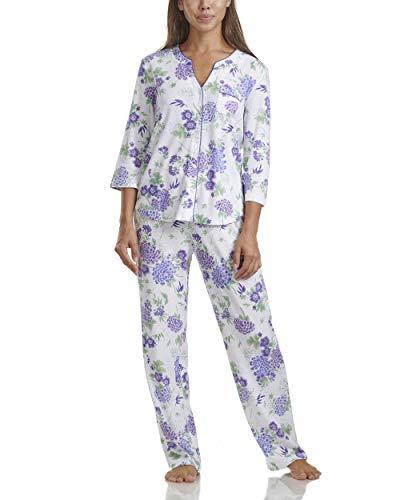 Karen Neuburger Women's Pajamas 3/4 Cardigan Long Sleeve Pj Set, Violet Storm Floral, 2X