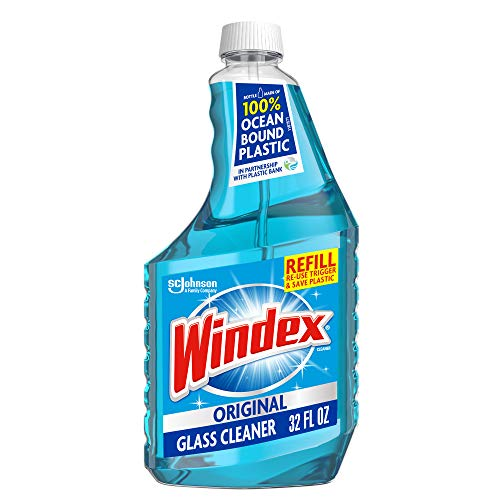 Windex Glass and Window Cleaner Refill Bottle, Bottle Made from 100% Recycled Plastic, Original Blue, 32 fl oz