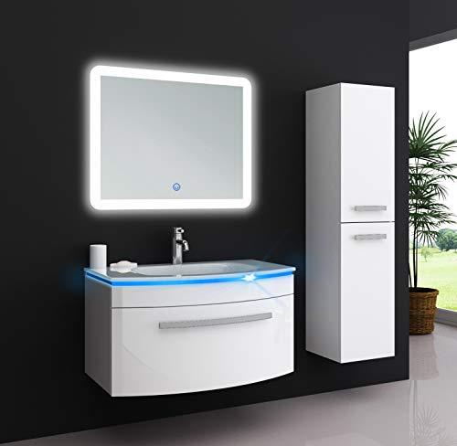 Oimex Jasmin 70 cm Badmöbel Set mit LED Spiegel + 1x Seitenschrank Hochglanz Weiß Badezimmer Set mit viel Stauraum LED Waschtisch Glaswaschbecken