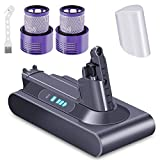 KUNLUN 3500mAh V10 Replacement Battery Compatible with Dyson Cyclone V10 Animal V10 Absolute V10 Motorhead Fluffy Cordless Vacuum Cleaner with 2 Filters & 1 Brush