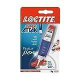 Loctite Super Attak Perfect Pen, colla resistente con applicatore a penna per applicazioni facili e precise, colla gel trasparente per gomma, metallo, pelle, ecc., 1x3g