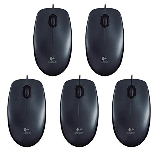 Logitech B100optische Maus, Schwarz | 5er Packung, 1