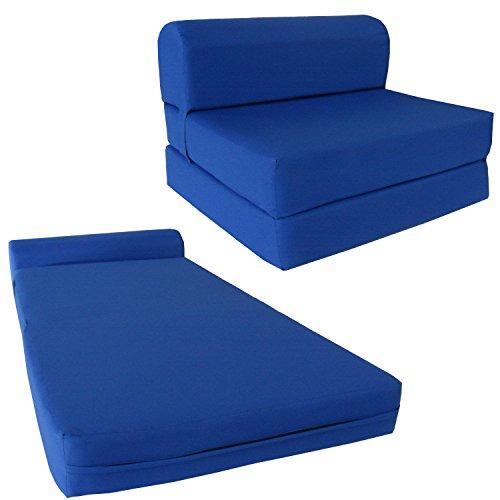 Chair Folding Foam Bed, Studio Sofa Guest Folded Foam Mattress (6' x 24' x 70', Royal Blue)