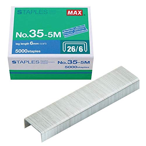 """Max 35-5M Standard Staples for USA; Leg Length 6mm (1/4""""); 100 Staples per Stick, for Use with Max HD-50, HD-50R, HD-50F and other Standard Staplers, 0.25"""" Leg Length, 0.5"""" Crown Width, 5000 Count"""