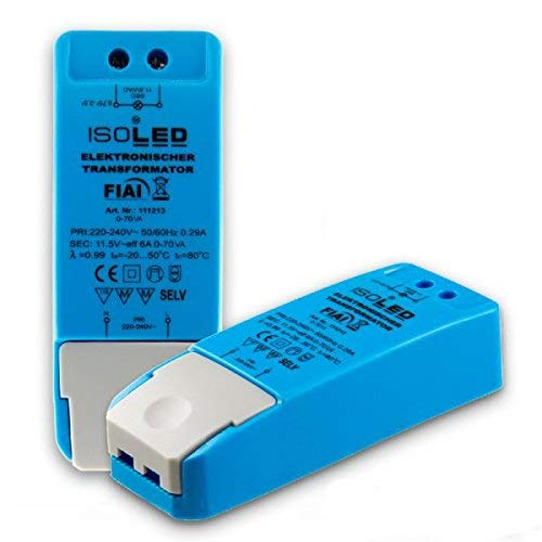 11.5 / AC, 0 bis 70W, keine Mindestbelastung, kein LED-Flimmern, kein Transformator-Rauschen, Dimmable LED-Treiber Netzteil, MR16 GU5.3 LED Halogen, ohne Mindestlast, 70VA (3er Pack, Netzteil)