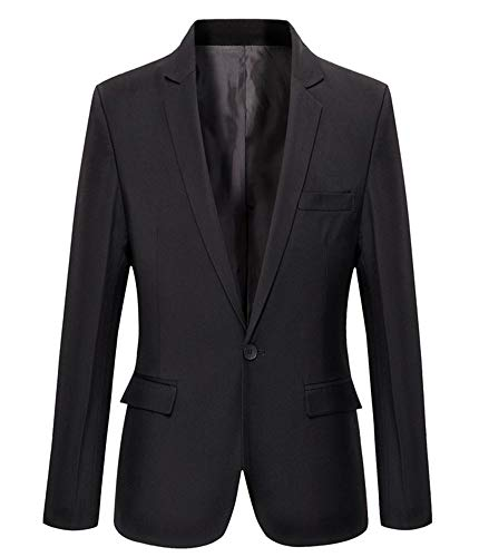 Mens Slim Fit Casual One Button Blazer Jacket (303 Black, L)