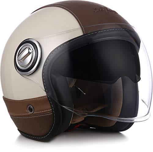 "SOXON® SP-888 Pro ""Urban Creme"" · Jet-Helm · Motorrad-Helm Roller-Helm Scooter-Helm Moped Mofa-Helm Chopper · ECE 22.05 Sonnenvisier Leather-Design Schnellverschluss SlimShell Tasche XS (53-54cm)"