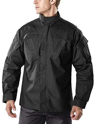 CQR CLSL Men's Lightweight Tactical Performance Combat Outdoor EDC Assault Jackets, ACU Jacket(uak01) - Black, X-Large