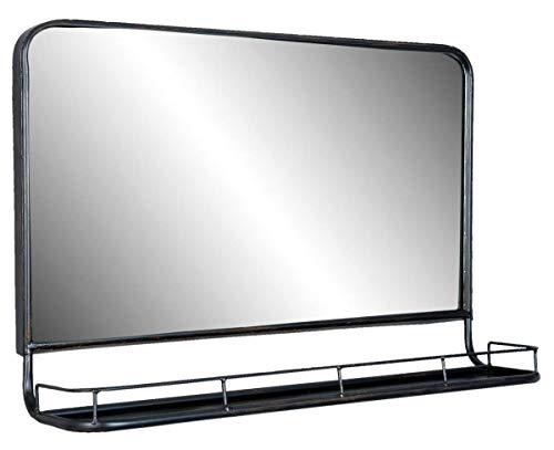 Clayre & Eef 52S097 spiegel/wandspiegel/wandrek met legplank metaal zwart industrieel 60 x 15 x 40 cm