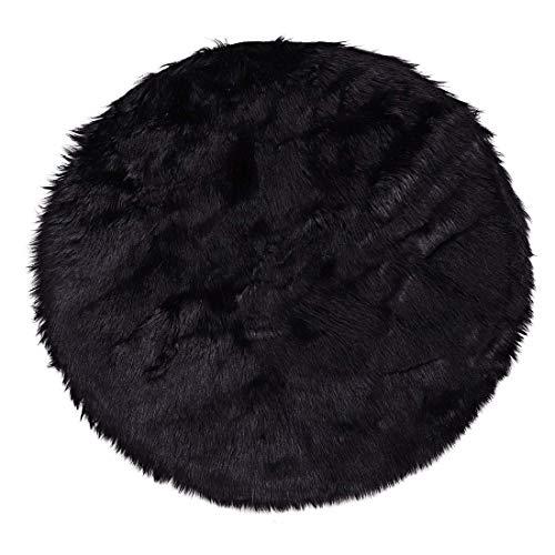 Depskin Area Rug Indoor Soft Fluff Alfombra para dormitorio, suelo, sofá, armario, salón, 3 x 3 patas redondas, color negro