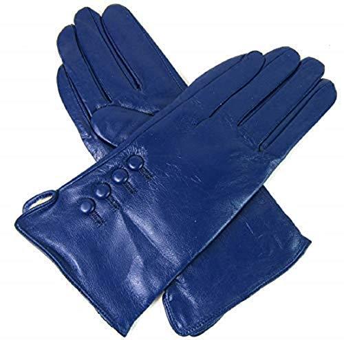Damen Premium Qualität Original Superweich Leder Handschuhe Kunstpelz Futter Winter Alltag Warm - Blau, M