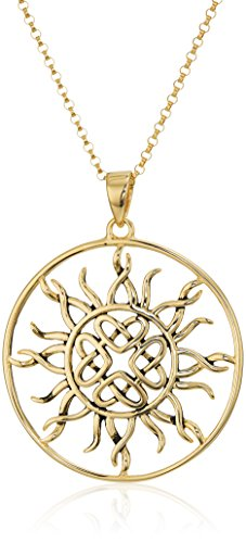 18K Gold Plated Sterling Silver Celtic Knot Sun Medallion Pendant Necklace, Yellow, 18 Inch