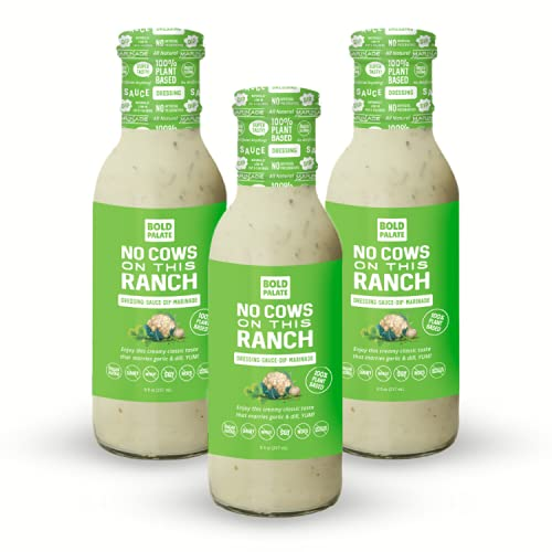 Bold Palate No Cows On This Ranch Vegan Salad Dressing, Sauce, Marinade, 100% Plant Based, Non-Allergen with No Added Sugar, No Soy, 8 oz., 3 Pack