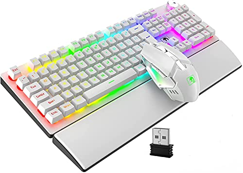 Rechargeable Wireless Keyboard Mouse and Wrist Rest Combo RGB Backlight Silent Mechanical Feel Keyboard with Knob Control 7 Color Mute Mice Memory Foam Cushion Hand Rest for Computer PC Gamer