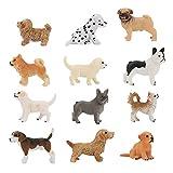 Yideng - Juego de 12 figuras de animales para cachorros de plástico,...