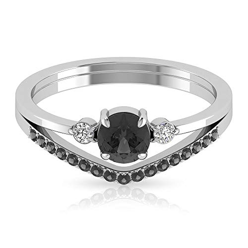 Anillo de diamante blanco y negro, Chevron para mujer, anillo de promesa de oro (5 mm de diamante negro en forma redonda), 14K Oro amarillo, Size:EU 60