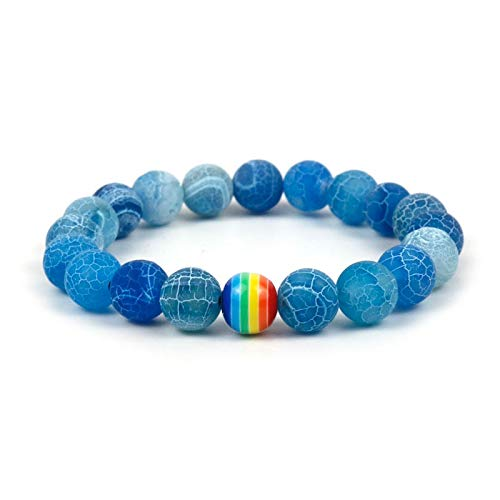 Nobrand Orgullo Gay Pulsera Arco Iris Hombres/Mujeres escarchados Natural Copo de Nieve Piedra de la Cuenta de la Pulsera de la joyería Gay Regalo para él