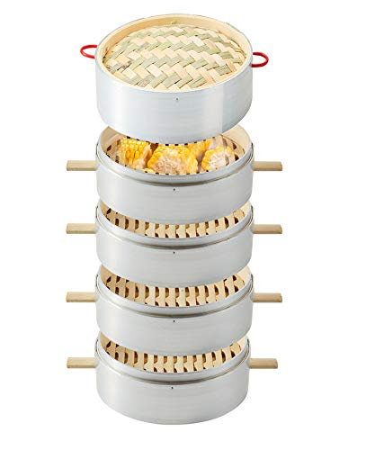 Vaporera de bambú hecha a mano, cestas de 1-4 niveles 22 CM (8,66 pulgadas), empanadillas de dim sum, pollo, pollo y carne,4+1