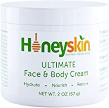 Honeyskin Manuka Honey Face and Body Moisturizing Cream - For Dry Itchy Sensitive Skin - Redness, Eczema, and Rosacea - Skin Tightening Moisturizer Lotion - Natural Aloe and Coconut Oil (2 oz)