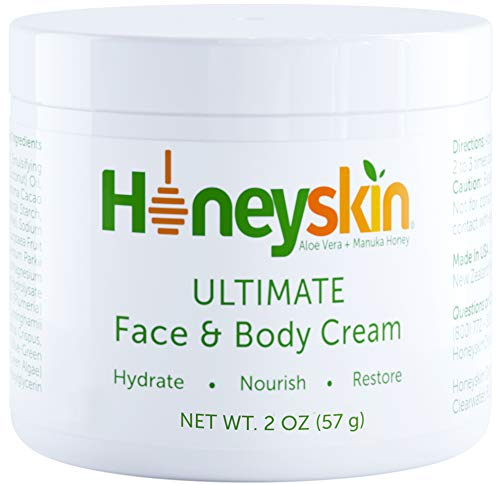 Face and Body Moisturizer Cream - Facial Skin Care - Dry Skin, Cracked Hands, Rosacea Eczema Psoriasis Rashes Itchiness Redness - With Organic Aloe and Manuka Honey - Anti Aging - Anti Wrinkle (2 oz)