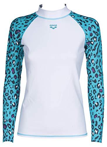 ARENA Damen Sonnenschutz Langarm Shirt Rash Allover Camiseta, Blanco/Verde Menta, Large...