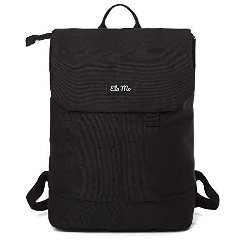 Ela Mo Rucksack Damen - Schön u. Durchdacht - Daypack mit Laptopfach & Anti Diebstahl Tasche für Ausflüge, Uni, Schule u. Büro (Black Beautiful)
