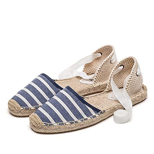 Sandalias de Alpargatas para Mujer, a la Moda, a Rayas, con Punta Cerrada, Correa en el Tobillo, Cordones, Slingback, Zapatos Casuales Antideslizantes Planos y Ligeros