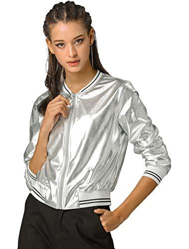 Allegra K Chaqueta De Bombardero Moda Holográfica Cremallera Ligero Metálico Collar del Soporte para Mujer Día De San Patricio