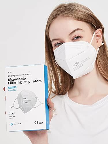 BerkeMed FFP2 Maske Atemschutzmaske - EU CE 2797 Zertifiziert Resp002 (6 Stück)