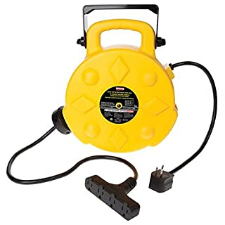 30 Foot SS-SMS-800182 Bayco SL-800 Retractable Metal Cord Reel with 3 Outlets