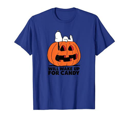 Peanuts Halloween Snoopy Wake For Candy T-Shirt, 5 Colors, Adults, Kids