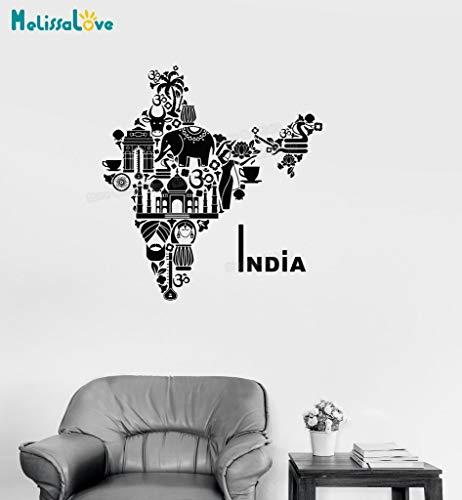 ASFGA Abstrakte Welt Einzigartige Form Vinyl Aufkleber Indien Karte Hindu Elefant Symbol Wandaufkleber Wohnkultur Wohnzimmer Kunst Bar Restaurant Tagungsraum Einzigartiges Geschenk 112x120cm