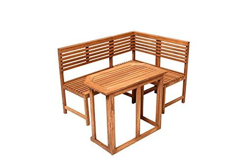 Holz Eckbank Saigon mit Tisch Gartenbank Holzbank Sitzbank Bank Gartenmöbel Parkbank Sitzgarnitur 150x100cm Hartholz