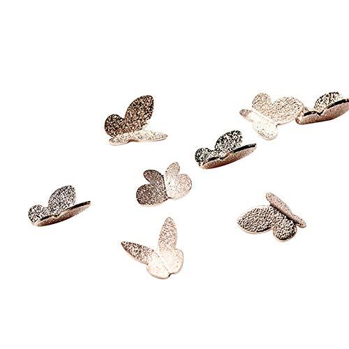 MoreChioce 3D Nail Art Papillon,100 pièces Strass à Ongles Glitter Nail Art Strass Art d'ongle Multicolores Ongles Bijoux Strass à Ongles Art Décorations 4 * 4 mm,Or Rose