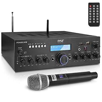 Wireless Microphone Power Amplifier System - 200W Dual Channel Sound Audio Stereo Karaoke Speaker Receiver w/ USB AUX Microphone IN w/ Echo Radio,Home Theater via RCA Studio Use - Pyle PDA8BUWM