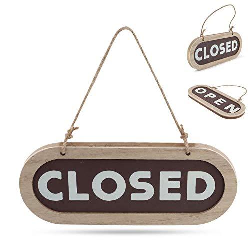 Open Closed Cartello, Targhette Vintage,Cartello di Legno Targhette per Porte Cartello Pensile Bifacciale per Negozio caffè Ristorante Pub Bar