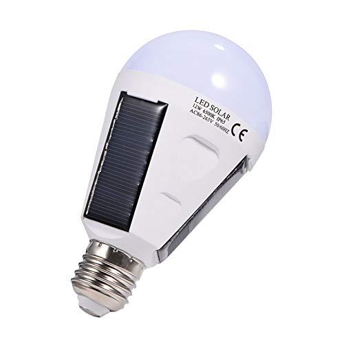 Zerodis El Panel Solar LED Bombilla, Lámpara Impermeable Portátil Interior/al Aire Libre IP65 para IR de Excursión Acampar, AC 85-265V(12W)