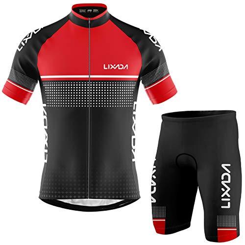 Lixada Maillot Ciclista para Hombre, Manga Corta Transpirable y de Secado Rápido + Pantalón Corto Acolchado con Espuma,Primavera/Verano (Rojo, L)