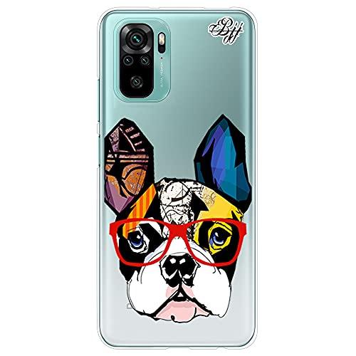 Funda Slim Transparente para [ Xiaomi Redmi Note 10 4G / Redmi Note 10S ], Carcasa de Silicona Flexible TPU, diseño: Cara de Bulldog Abstracto Multicolor con Gafas