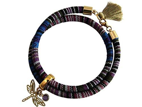 Gemshine - Damen - Armband - Wickelarmband - 925 Silber Vergoldet - Libelle - AZTEC - Amethyst - Rose - Violett