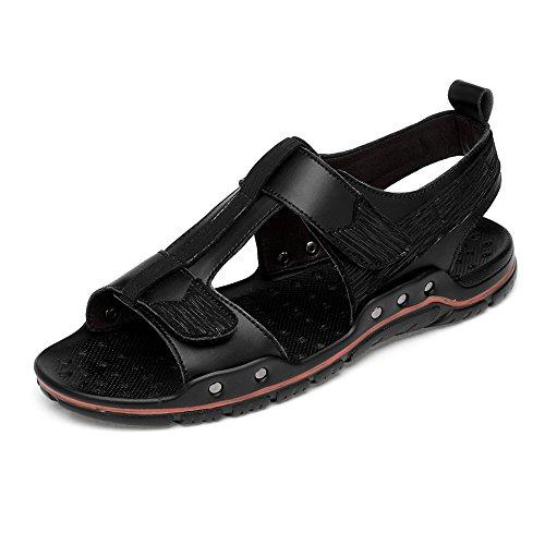 Zapatos de Cuero, Zapatos Casuales, adecuados para Zapatos Exteriores de los Hombres, Sandalias de Playa de Cuero con Gancho Doble y Correas de Bucle, Suela Suave Cerrada