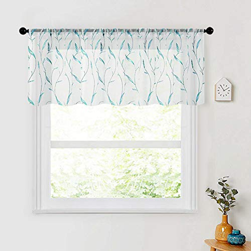 Sheer Valance Curtain 54x16 inches Long Leaves Embroidery Valances Wheat Spike Embroidered Curtain Living Room Bedroom Voile Rod Pocket Window Treatment 1 Panel Aqua Blue Wheat Spike on White