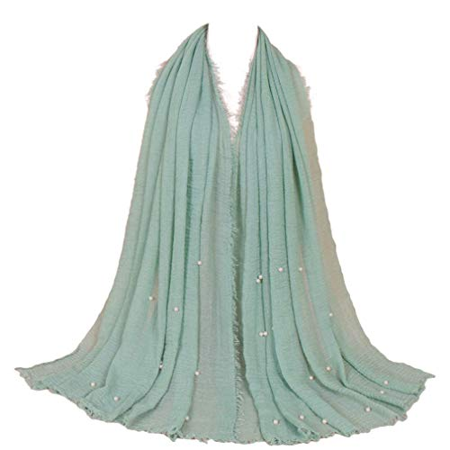 LMVERNA Women Maxi Scarf Cotton Pleated Scarves Pearls Fashion Long Shawl and Wrap for Winter (Mint)
