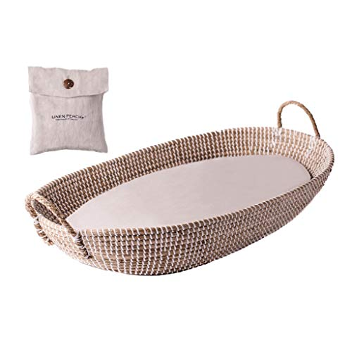 """Baby Changing Basket with Pad - CPSC Safety Compliant - 100% Linen Cover Included - Woven Basket for Nursery Changing Table - Baby Moses Basket Inspired - Diaper Changing Pad Set - 32""""x16""""x4"""" (Linen)"""